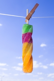 Ice refreshment on a clothesline