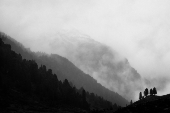 Black and white image of mountains with fog and trees