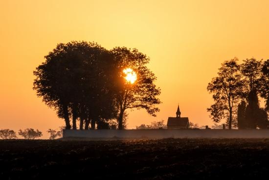 Sunrise over the cemetery