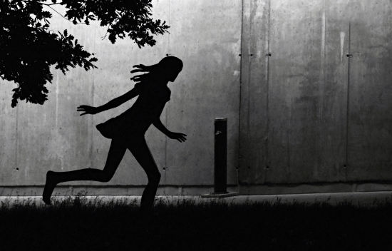 Running sculpture of a girl